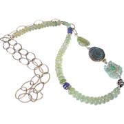 Prehnite Tanzanite & Emerald Body Necklace by Pilula Jula 'Surrender & Certainty