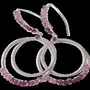 SOLD Pink Tourmaline Double Hoop Earrings by Pilula Jula 'Run Wild'