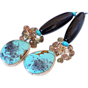 SOLD Kingman Turquoise & Andalusite Earrings by Pilula Jula 'Wild Creatures'