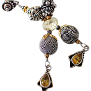 Citrine Sterling & Vermeil Dangle Earrings by Pilula Jula 'Sun Daze'
