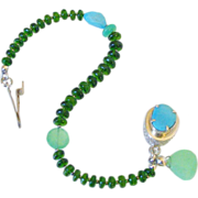 Sleeping Beauty Turquoise Chrome Diopside & Chrysoprase Bracelet by Pilula Jula 'Solid Ground