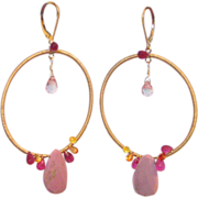 SOLD Sapphire Ruby & Orchid Pink Phosphosiderite Gold Fill Hoop Earrings by Pilula Jula 'L