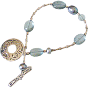 SOLD Moss Aquamarine & FW Pearl Bracelet by Pilula Jula 'Game Changer'