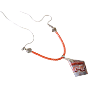 SOLD Salmon Coral & Rosetta Stone Pendant Necklace by Pilula Jula 'The Palisades'
