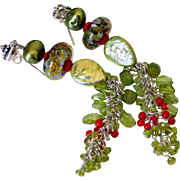 Coral & Peridot Tassel Earrings by Pilula Jula 'Sweet Resistance I'