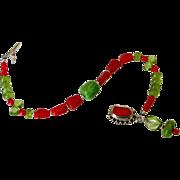 Genuine Italian Red Coral & Peridot Bracelet by Pilula Jula 'Sweet Resistance II'