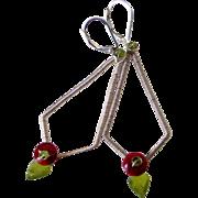 SOLD Vesuvianite Peridot & Coral Kite Earrings by Pilula Jula 'Sweet Resistance II'