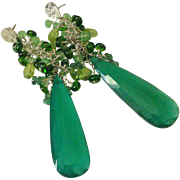 Green Onyx. Emerald. Chrome Diopside. & Tsavorite Garnet Tasseled Earrings by Pilula Jula 'Pen