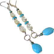 Sleeping Beauty Turquoise and Scapolite Gemstone Dangle Earrings by Pilula Jula 'Pick Me Up'