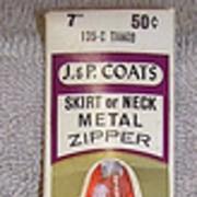 1950s Dead Stock Metal Zipper - J&P Coats