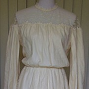 1970s Beautiful Off White and Lace Wedding Gown Blouson Bodice
