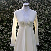 1970s Ivory Beaded Wedding Gown / Dress