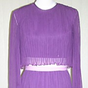 SALE 1980s Lavender Pleated Formal Gown / Dress