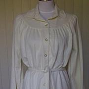 1960s Cream Ivory Shirt Dress
