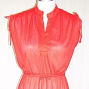 SALE 1970s Vintage Red Office Dress