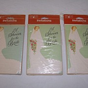 SOLD 1970s Vintage Bridal Shower Invitations