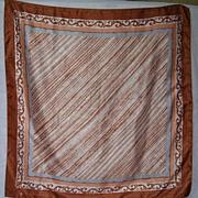 SALE 1960s Vintage Tan & White Scarf by Vera