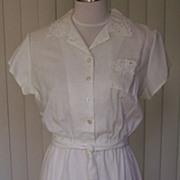 1970s Vintage White Dress w/Cut Outs Design