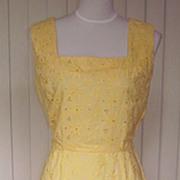 1940s Vintage Yellow Cotton Eyelet Dress