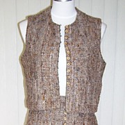1960s Vintage Wool Tweed Skirt & Vest