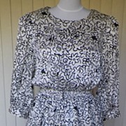 1980s Peplum Style Black & White Dress