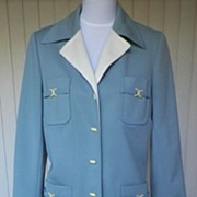 1960s / 1970s  Dusty Blue Jacket & Skirt - Butte Knit