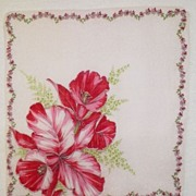 Vintage White Hanky with Large Orchid Design