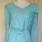 1970s Light Blue Chiffon Cocktail / Party Dress