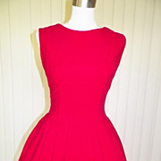 1950s/1960s Red Corduroy Skating Dress or Costume