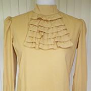 SALE 1960s Yellow Cotton Suit Blouse / Top
