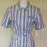 1980s Light Denim Blue & Pink Striped Sporty Dress - Sabino