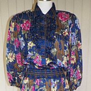 1980s Gypsy Style Polyester Georgette Dress - Diane Fres