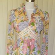 1970s Hippie BoHo Peasant Style Maxi Dress Floral Design