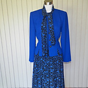 1980s Royal Blue Skirt and Jacket - Leslie Fay