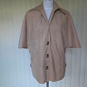 1970s Light Tan Cape / Jacket Faux Suede
