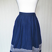 1950s / 1960s Navy Blue Full Skirt with Embroidery