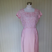 1950s Pink Lacy Wiggle Dress