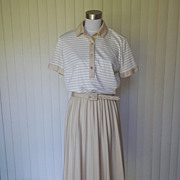 1970s Tan and White Sporty Dress / Office Dress