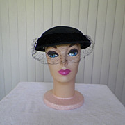 1950s / 1960s Black Wool Hat with Broach