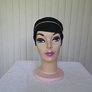1950s / 1960s Cloche Type Black Knit Hat with Gold Cording