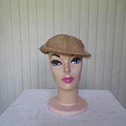 1950s / 1960s Dark Tan Straw Hat with Netting and Bow