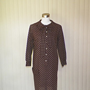 1960s Chocolate Brown Shift Dress / House Dress w/Flocked Polka Dots