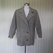1980s Gray Wool Tweed Type Coat