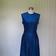 1960s / 1970s Royal Blue Metallic Sparkle Dress