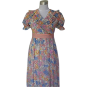 1970s Multicolored Floral Baby Doll Maxi Dress - Cinderella