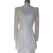1980s All Lace Ivory Wedding or Cocktail Dress - Evening Affair Creations