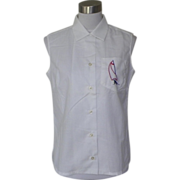 1960s White Cotton Blouse with Embroidered Sailboat - Lady Arrow