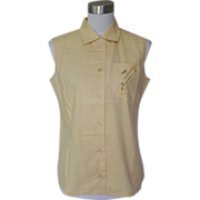 1960s Mustard Yellow Cotton Blouse with Embroidered Golf Clubs - Lady Arrow