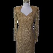 1980s Gold Lace Floral Cocktail Dress - Karen Lucas
