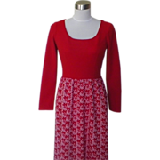 1960s / 1970s Red Polyester Floral Maxi Dress
